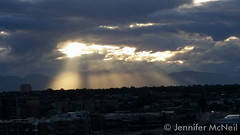 July 21, 2015 - Amazing rays of light at sunset as seen from Coors Field. (Jennifer McNeil)