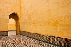 Enter into God's mercy (AurangzebH) Tags: light art yellow architecture shrine shadows angles mosque morocco mausoleum walls ismail islamic meknes moulay