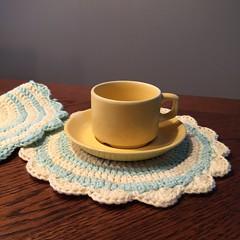 Grytekluter med bølgekant Juli 2015 (hobbyugla) Tags: crochet crocheted potholders heklet hekling grytekluter junijuli2015