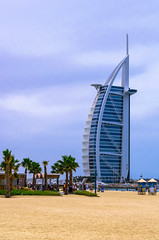 Burj Al Arab view. Another shot has been taken on a rainy day of May 10, 2015. 1pm. (inspiredbydubai) Tags: building beach architecture clouds hotel dubai cityscape uae resort emirates burjalarab dxb 7stars