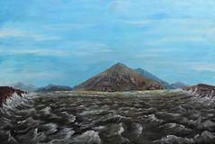 Shiny Islands (RedRoofArt) Tags: fantasy art acryl painting panel scify metallic islands sea landscape