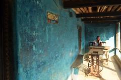 Long Tailored Waits. (Gattam Pattam) Tags: village tailor india gariyaband nahargaon chhattisgarh verandah street sun blue