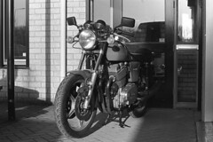 Laverda 1000 (Arne Kuilman) Tags: kerst 2016 nederland netherlands trix iso400 f100 nikon 50mm 50mmf14 film scan kodak d76 homedeveloped v600 limburg blackandwhite laverda laverda1000 driving rijden motorcycle motorbike motorfiets motor italian nakedbike