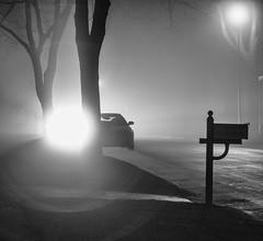 Silhouetting the neighborhood (LostOne1000) Tags: neighborhood night silhouettes foggy silhouettescedarrapids car mailbox blackwhite fog unitedstates road iowa light cedarrapids us