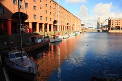 A Promising Day (innpictime ζ♠♠ρﭐḉ†ﭐᶬ₹ Ȝ͏۞°ʖ) Tags: water boats buildings sky blue architecture reflection victorian warehouses yacht docks liverpool albertdock museumofliverpool merseyside colonnade maritime threegraces stillwater quays columns float 533993512992829 ripples
