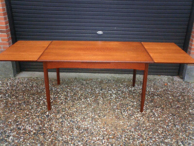 Danish teak drawleaf dining table