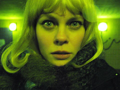 staring me (Sexy Swedish Babe) Tags: selfportrait green me topf25 night interestingness eyes topf50 open wide pedestrian tunnel wig late lamps