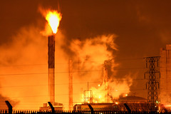Burning Gas (Hart from Golborne) Tags: industry night fire gas flame burn oil inferno refinery