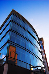 HappyGoldenHour (Mark Tighe (TAFKA Chimpola)) Tags: blue glass architecture golden mark leeds hour reflective tighe 30dayphoto dslrblogpad marktighe