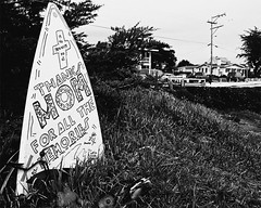 A Surfer's Memorial (musicmuse_ca) Tags: street blackandwhite bw 15fav santacruz 510fav wow wonder memorial surfer surfboard surfcity pleasurepoint thehook sr147 interestingness253 i500
