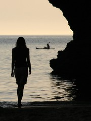 shadowboat (originalmulli (naomi)) Tags: light sunset shadow sea beach water girl silhouette wales geotagged canoe figure ceredigion llangrannog birdpoem geo:lat=5216254294296591 geo:lon=446952954087854