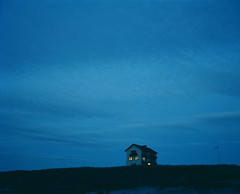light house (Femke77) Tags: blue windows light sea house night zee aan mamiya7