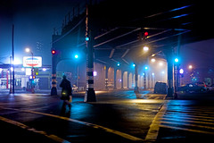 one foggy evening in brooklyn (Ali Brohi) Tags: street mist newyork fog brooklyn night bensonhurst seedingchaos moazzambrohicom httpwwwmoazzambrohicom wwwmoazzambrohicom
