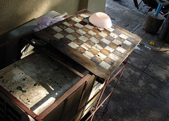 (michale) Tags: street pink blue game yellow table thailand grid asia play squares bangkok chess lavender airconditioner wait checkers ac marigold bkk pinkbowl
