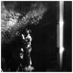 The kiss (Holga-Jen) Tags: bw white black blur love holga kiss couple distorted doubleexposure etsy bulbsetting