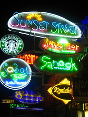 Neon Signs on Khao San Road, Bangkok (Sarah Ann Wright) Tags: road colour travelling sign advertising thailand san asia southeastasia neon bright neonsign backpacker luminous khao khaosanroad