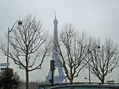 Fog and cold near Eiffel Tower