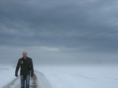 exploring the land without horizon (oliworx) Tags: sky mist selfportrait snow me topv111 misty fog clouds 510fav wow germany bavaria 2006 topv222 continuity topv100 topv200 selftimer topv300 sauerlach 200603 oliworx