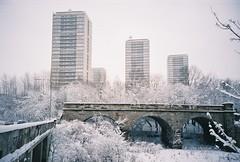 three towers (kempes) Tags: bridge winter white snow glasgow towerblock kelvindale