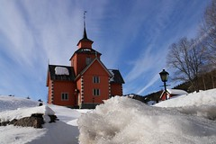 Pink church (tollen) Tags: old pink sky snow church norway clouds quality bluesky mountainvillage vinje