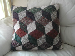 Tumbling Blocks Cushion (Little Purl of the Orient) Tags: knitting handmade craft rowan cushion kaffefassett intarsia