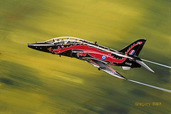 Hawk in low pass of Welsh valley - gouache painting on paper. (Greg Bajor) Tags: uk red england motion blur wales modern illustration speed training plane watercolor painting airplane flying airport wings dragon action drawing hawk aircraft aviation military united flight jet kingdom aeroplane valley watercolour british gouache gregory scheme raf t1 aerospace birdlike bajor aviationart xx172 25faves aplusphoto birdlikeimages gregbajor