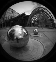 Sheffield's Balls of Steel - Fisheye (publicenergy) Tags: two bw man reflection building ball one unitedkingdom steel sheffield picture balls front fisheye round taking