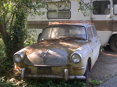 VW Squareback. (Eleventh Earl of Mar) Tags: california trees sky usa plant cars abandoned leaves yellow fruit vw volkswagen rust neglected rusty vehicles trail greenery trucks girard squareback variant primrose woodlandhills