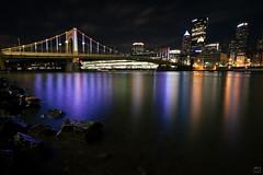 Light Up Pittsburgh (Matt Loiacono) Tags: night lights pittsburgh pitt bridge water blur long exposure city skyline clouds sky christmas holidays