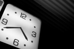 Clock (CarbonNYC) Tags: blackandwhite bw 6 3 black clock face dark hands waiting time gray d70s 9 hour wait hours brooding passing 12 metaphor clocks minutes patience oclock carbonnyc