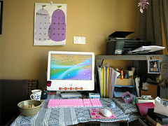 my desk (yewco) Tags: desktop pink cup coffee rose mouse hongkong mac keyboard purple desk printer calender messy pear files  potatochips folders dreamcatcher