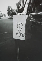 Love Note From a Friend ({manda}) Tags: camera blackandwhite white black love 120 car toy holga child message toycamera sydney letter drawn illford handdrawn lovenote vivianne childrenlovenote
