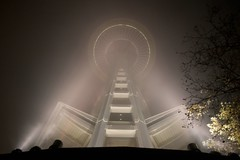 needle through the fog (Chris Blakeley) Tags: seattle up fog frombelow spotlight spaceneedle atnight seattlecenter nitelite