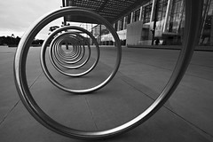 thru the spiral (peterstuckings) Tags: street sky art 20d bike metal clouds canon dark spiral concrete eos blackwhite movement artistic perspective creative australia melbourne wideangle curve eos20d goldenmean peterstuckings stuckings wwwpeterstuckingscom