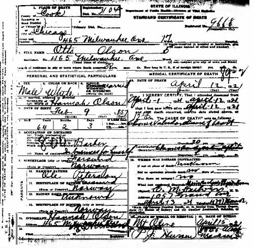 Otto Olson (1858-1921) death certificate