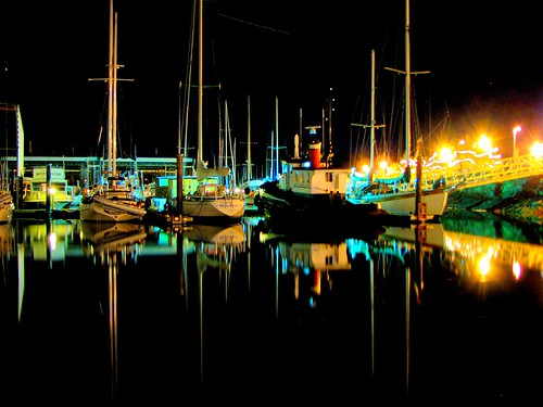 yacht harbour reflection night light joke