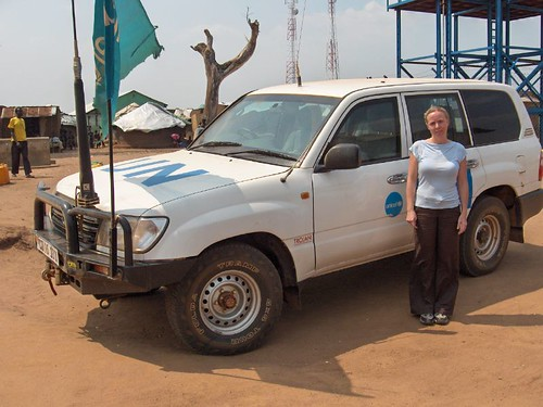 Melanie and UN Truck (Pabbo IDP Camp)