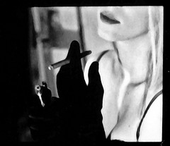 (* Sontheimer Pictures *) Tags: bw woman film 35mm smoke cigar sensual odd morbid proof contact lowres bizzare sjs2 jls11 jrs7