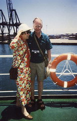 Mum and Dad on ferry to Morocco 1996