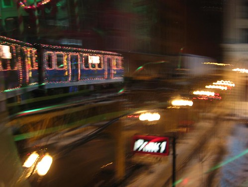 Holiday Train in focus on a curve