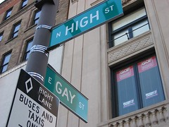 Look out! There's Bush at the corner of High and Gay. (thinking.blissful) Tags: gay ohio building sign high weed georgebush humor americana marijuana democrat liberal gop gayest gayandhigh gayhigh