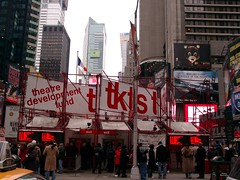 TKTS booth in Times Square (Jim Lambert) Tags: ny nyc us usa newyork newyorkcity unitedstates timessquare timessq broadway seventhave w42ndst w43rdst w44thst w45thst w46thst w47thst w48thst w49thst skyscrapers skyscraper building buildings architecture neon signs advertising tkts