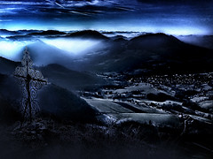 under favor of night (Cilest) Tags: blue night wow religious austria interestingness cross cilest kurt hometown scheibbs