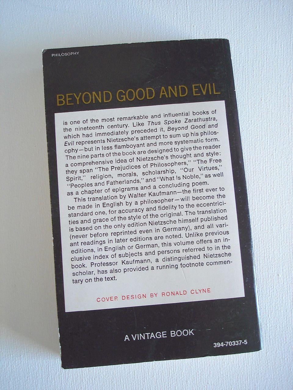 Book cover Beyond Good and Evil by Friedrich Nietzsche.