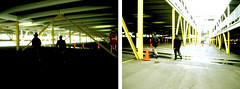 into the shadows (fjennludwig) Tags: friends david walking losangeles parkinglot johnson wandering newyears2005 tych