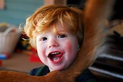 hugging his dog (Ben McLeod) Tags: dog hug toddler tail flickrimportr liam 50mmf14af
