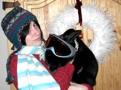 ski bunnies (vagabondgirl007) Tags: red ski rabbit bunny hat pine scarf good daughter goggles feathers adorable times grandbunny