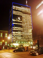 Illuminated Office Building Brussels December 2005 (fotoisto2005) Tags: windows brussels tower glass night lights europa europe belgium belgique towers eu bruxelles europeanunion offices europo