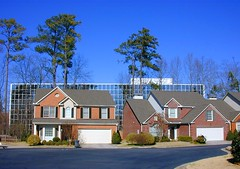 neighbors (BoringPostcards) Tags: street atlanta house home yard georgia neighborhood suburb residence residential infill mcmansion