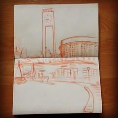 Gare Brest (www.abirato.com) Tags: illustration train bretagne dessin brest tgv croquis carnet situ in